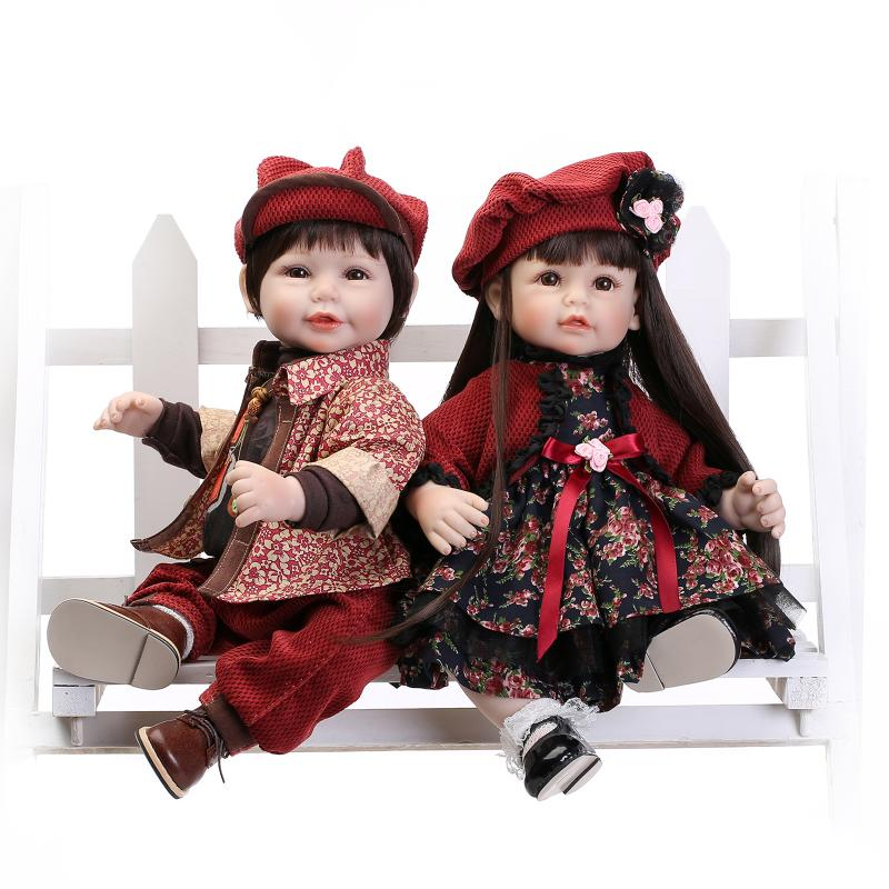 Lifelike boy/ girl doll reborn	52CM silicone reborn babie bonecas children play house toys lover gift