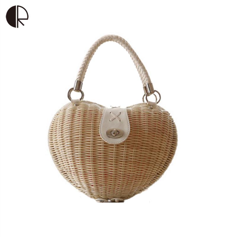 2016 Newest Fashion Women Handbag Summer Heart Shaped Weave Woven Rattan Bag Japan&Korean Style Ladies Straw Totes BH889(China (Mainland))