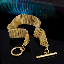 Free Shipping 1pc 18K Gold Filled Net Wide Women's Jewelry lady's T/O Chain Bangle Bracelet TL068(China (Mainland))