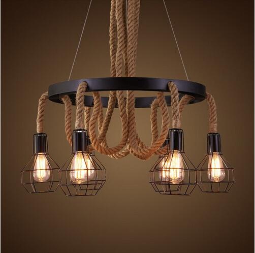 Vintage Industrial Pendant Lights Retro Loft Style Hemp Rope Fixtures Lighting for Home Lighting Edison Droplight Hanging Lamp(China (Mainland))
