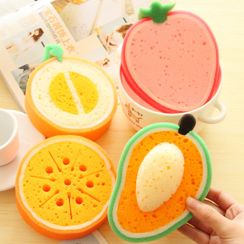 Fruit type sponge candy color dishclout bowl microfiber cleaning cloth waffle weave kitchen towels dish washing cooking tools(China (Mainland))