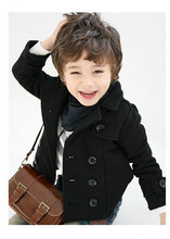2014 boy's coat Children Double breasted woolen Jacket Kid's cotton thickening outerwear wool ingredient FREE SHIPPING(China (Mainland))