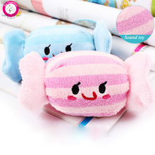 1pc Cute Candy Dog Toys Soft Fleece Puppy Cat Chew Squeaky Toys(China (Mainland))
