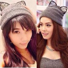 2015 Gorro Beanie Cap Women Winter Warm Knitted Hat Wool Rhinestone Devil Horn Cat Ears Hat Skullies Beanies Female Hats MZ0500(China (Mainland))