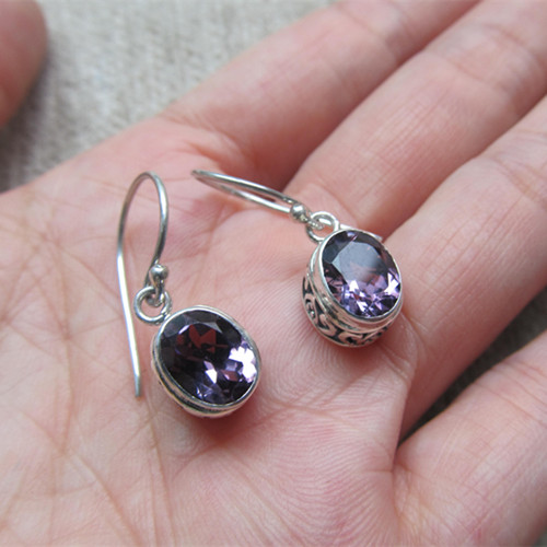 India Silver Sterling Silver Earrings Inlaid Amethyst Replenishment Number<br><br>Aliexpress