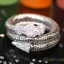 Vintage Retro Punk Rhinestone Curved Stretch Snake Cuff Bangle Bracelet  00WM(China (Mainland))