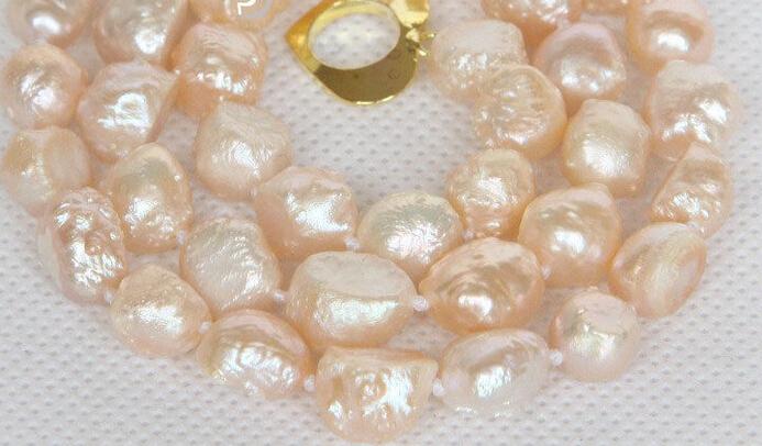 "Hot sale Free Shipping>>>>>natural bleb Baroque 17"" 10mm pink Reborn keshi pearls necklace(China (Mainland))"