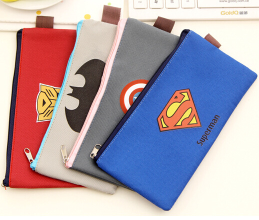 New Arrival HERO Series stationery canvas pencil bag for school pencil case bags for boy 4 styles can be choosed free shipping(China (Mainland))