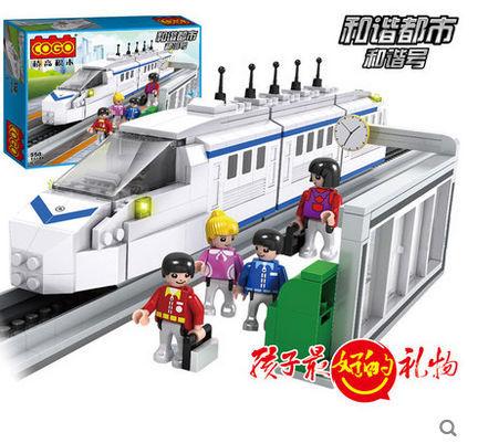 COGO 14110 Transport Train Freight Platform 558pcs Building Block Sets Educational DIY Bricks Toys
