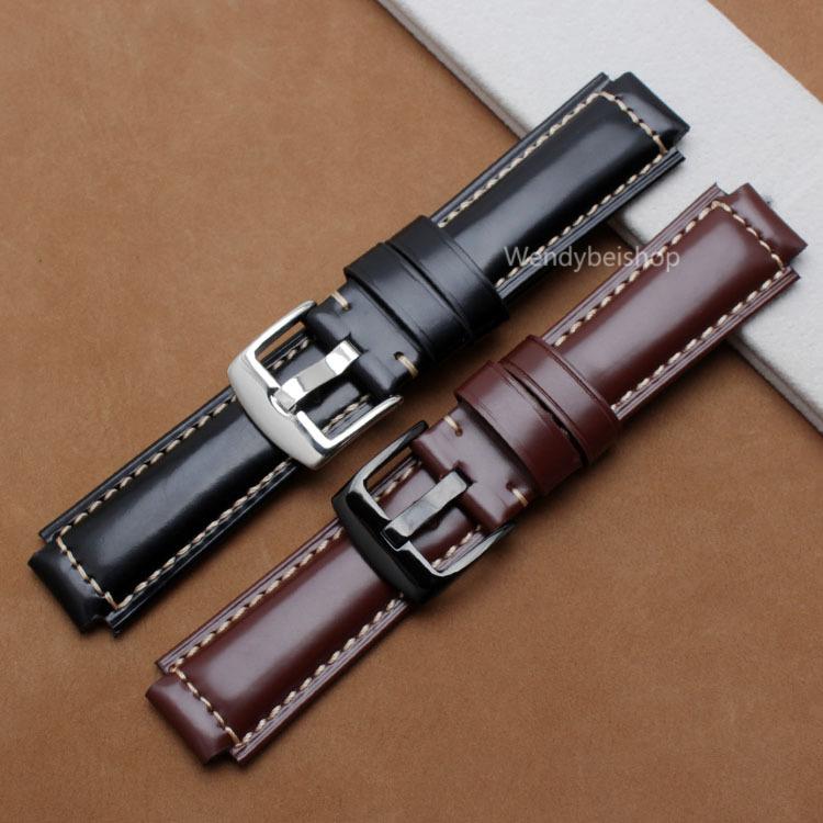 24mm*16mm Men Women Black Brown Real Leather Handmade Thick Wrist Watch Band Band Strap Belt Polish Buckle For Garmin vivoactive(China (Mainland))