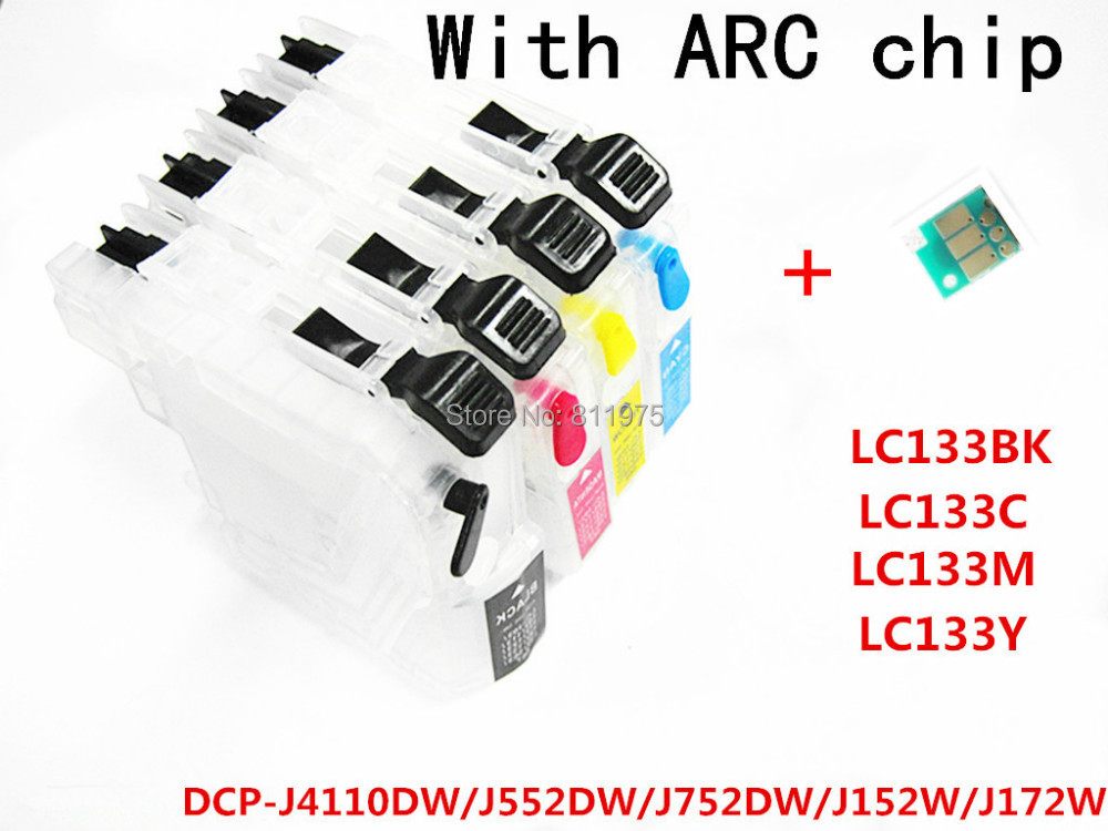 LC133  refillable Ink cartridge for Brother DCP-J4110DW/DCP-J552DW/DCP-J752DW/DCP-J152W/DCP-J172W printer permanent chip<br><br>Aliexpress