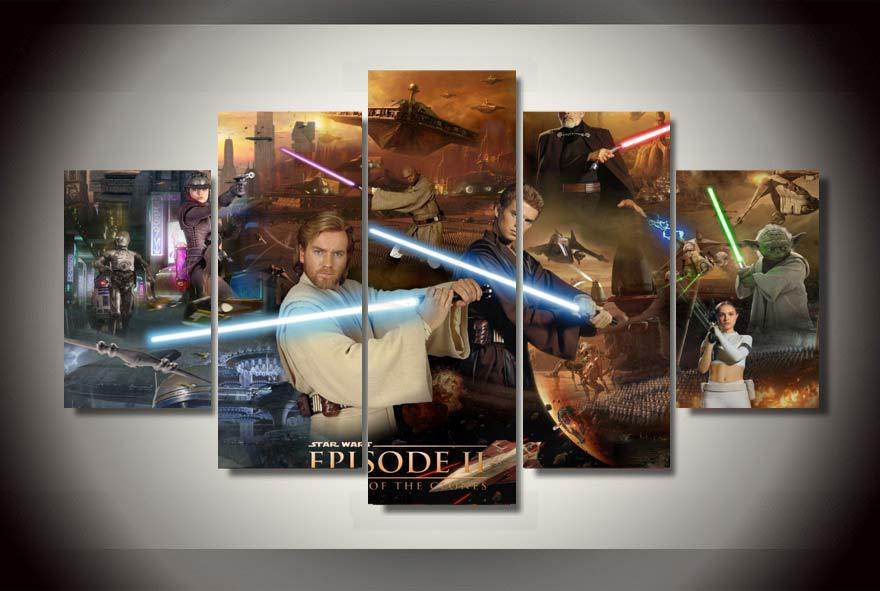5 Panel With unframed Printed star wars episode Painting room decor print poster picture canvas pinturas al oleo(China (Mainland))