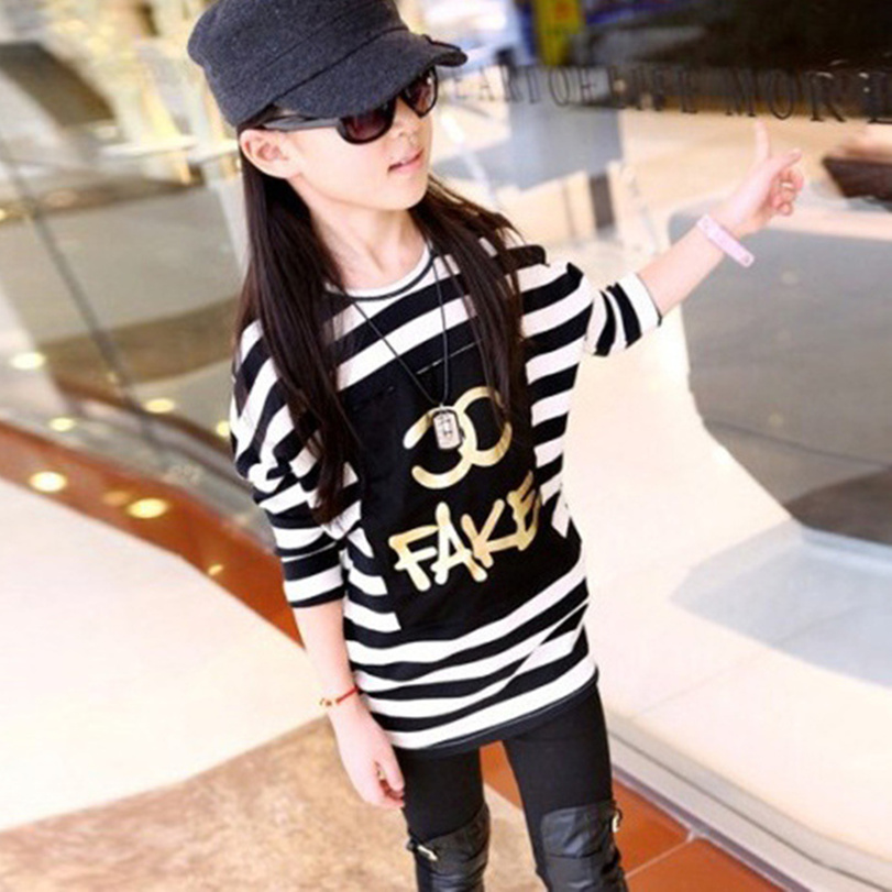 Brand Design Girls Striped Fashion O-Neck Long-Sleeve T Shirt Big Girl children clothes kids Tees Hip-Hop Tops Size (4 6 8 10 Y)<br><br>Aliexpress