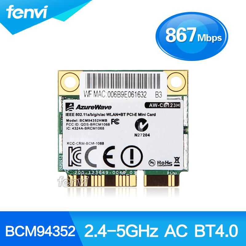 AzureWave Broadcom BCM94352HMB 802.11ac 867Mbps Wireless-AC WLAN+Bluetooth BT 4.0 Half Mini PCI-E Wireless Wifi card AW-CE123H(China (Mainland))