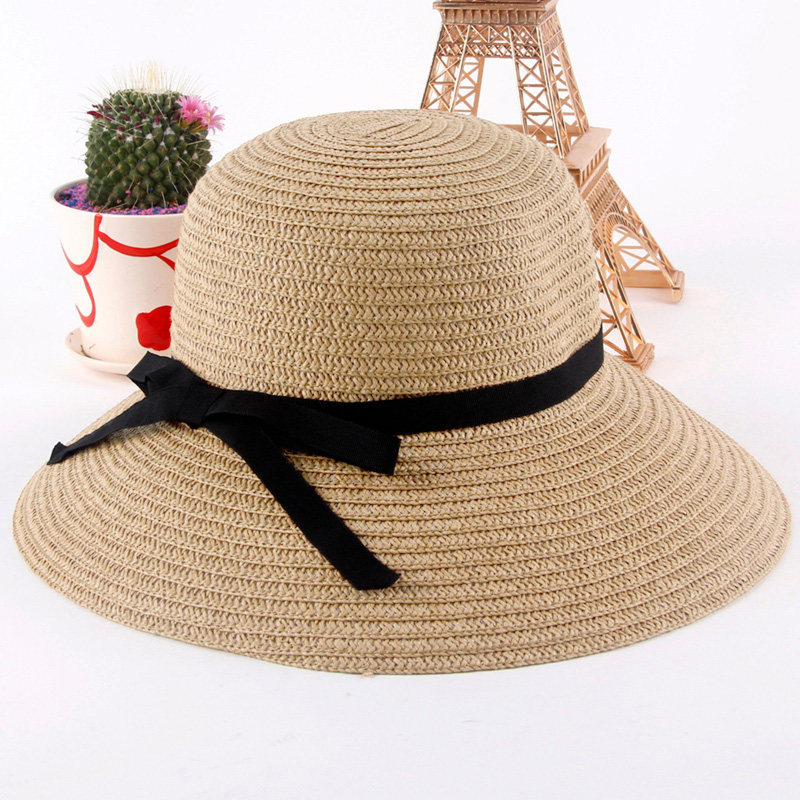 New Fashion Sun Hat Women's Summer Foldable Straw Hats For Women Beach Headwear 2 Colors Top Quality Wholesale(China (Mainland))