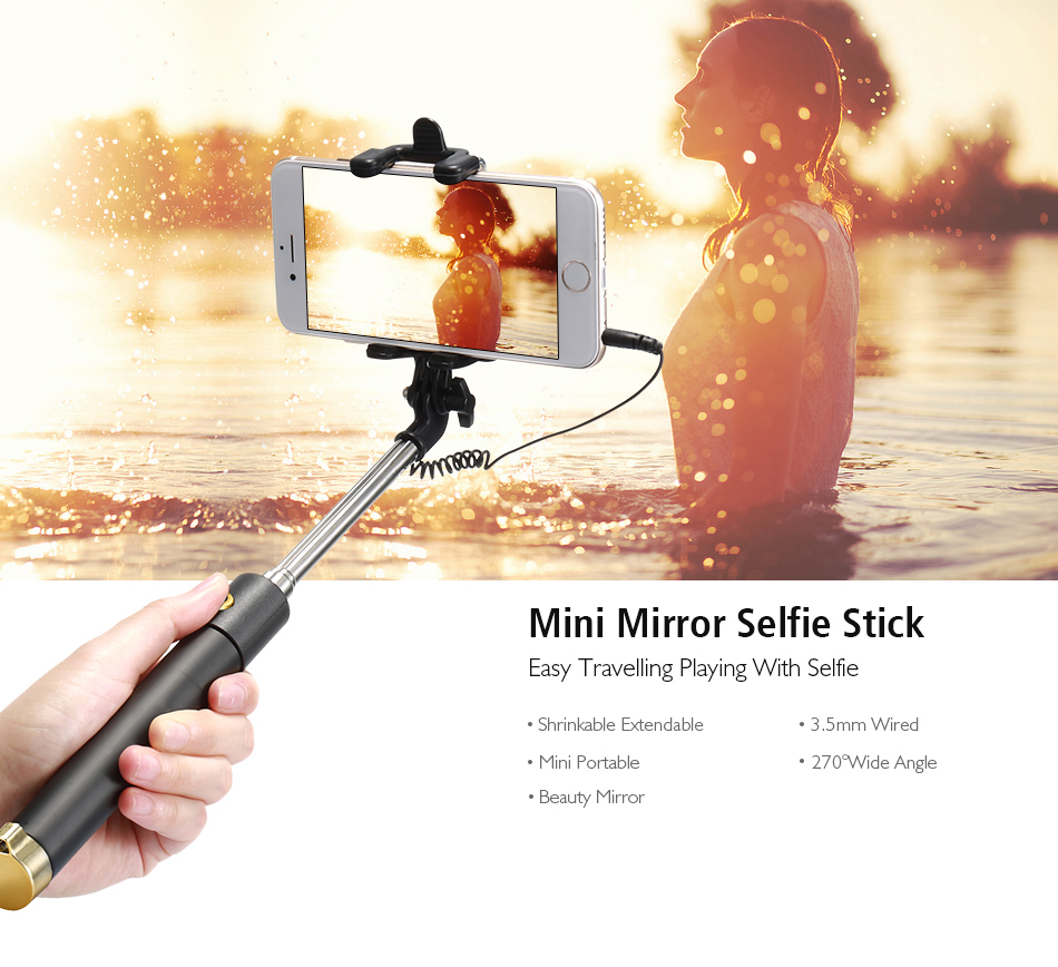 image for RAXFLY Wired Handheld Universal Selfie Stick Monopod Extendable Self-t