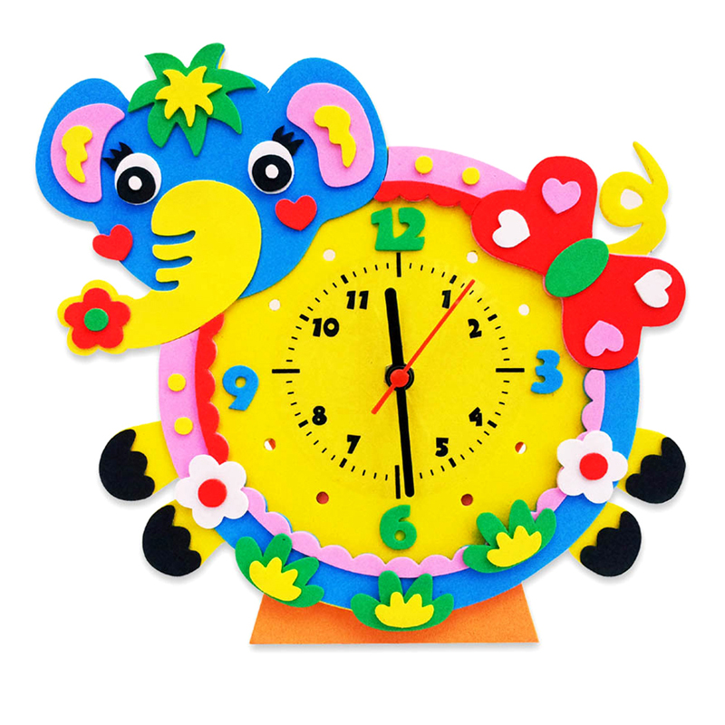 New Cute Model Building Kits Handmade DIY 3D Animal Learning Clock Kids Crafts Educational Toy FCI#(China (Mainland))