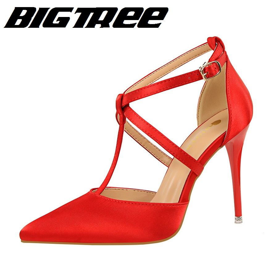 BIGTREE New Female Summer High Sandals Fashion High Heels Shoes Satin Shallow T Cross Strap Sexy Show Thin Women Sandal(China (Mainland))