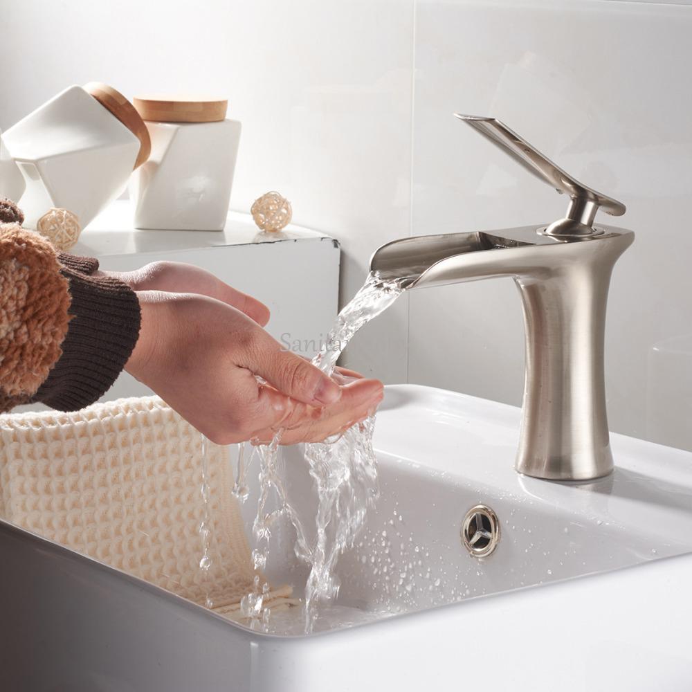 Sanitarmony modern commercial single handle bathroom lavatory vanity vessel sink faucet sink for Commercial bathroom sink faucet