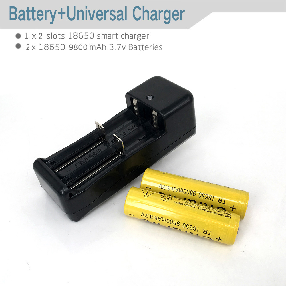 2pcs 9800mAh Battery + 1Pcs EU/US Universal Charger For 3.7V 18650 16340 14500 Li-ion Rechargeable Battery(China (Mainland))