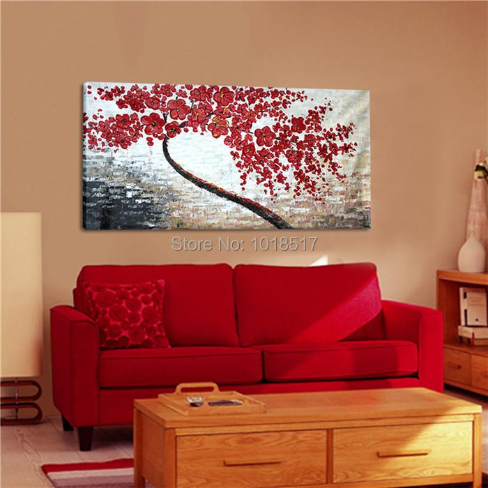 Abstracta moderna grueso pintado pintura cuchillo rojo - Decoracion de paredes con pintura ...