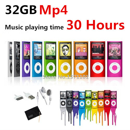 High quality battery mp4 player 32 gb 9 Colors for choose Music playing time 30 hours FM radio video player + Gift bag(China (Mainland))