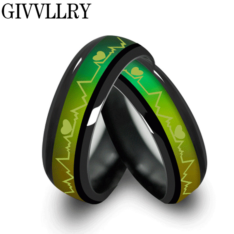 Fashion Titanium Black Mood Rings Temperature Emotion Feeling Engagement Rings Women Men 2016 Promise Rings For Couples Jewelry(China (Mainland))