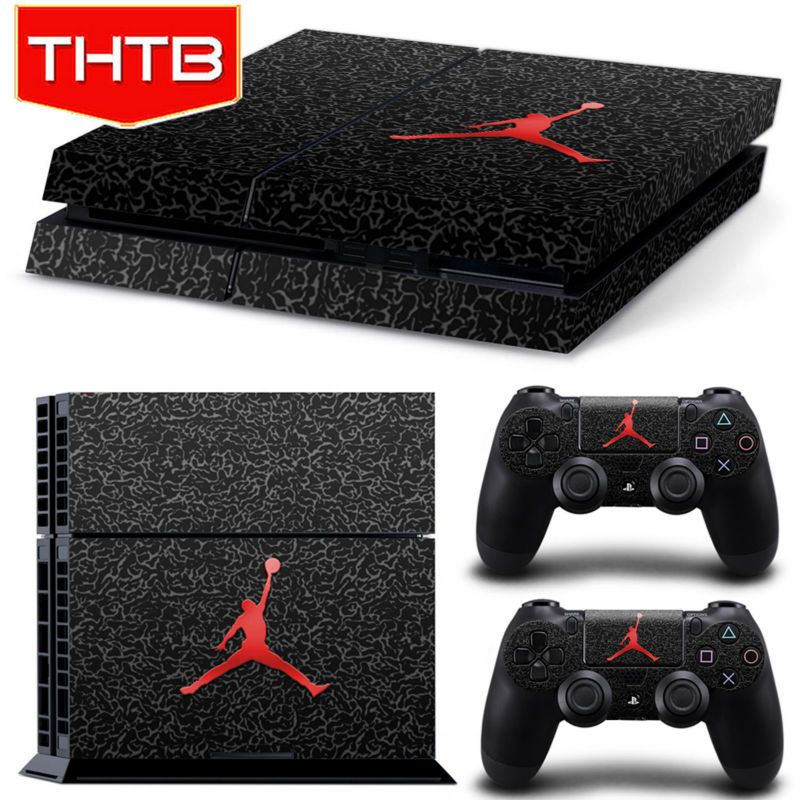 Basketball Legend Michael Jordan Red Air Logo MJ Cover Decal PS4 Skin Sticker for Sony PlayStation Console & 2 Controller Skins(China (Mainland))