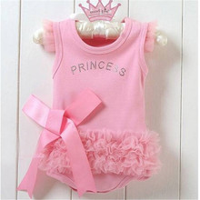 2016 New Baby Girls Pink Bodysuit Princess Dress Kids One-piece Cloth set T-shirt 0-36M(China (Mainland))