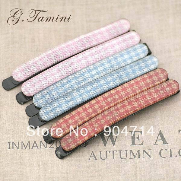 Acrylic hairpin/hair accessories/hairwear Plaid long clip wafer preppystyle clip side-knotted clip e1 484(China (Mainland))