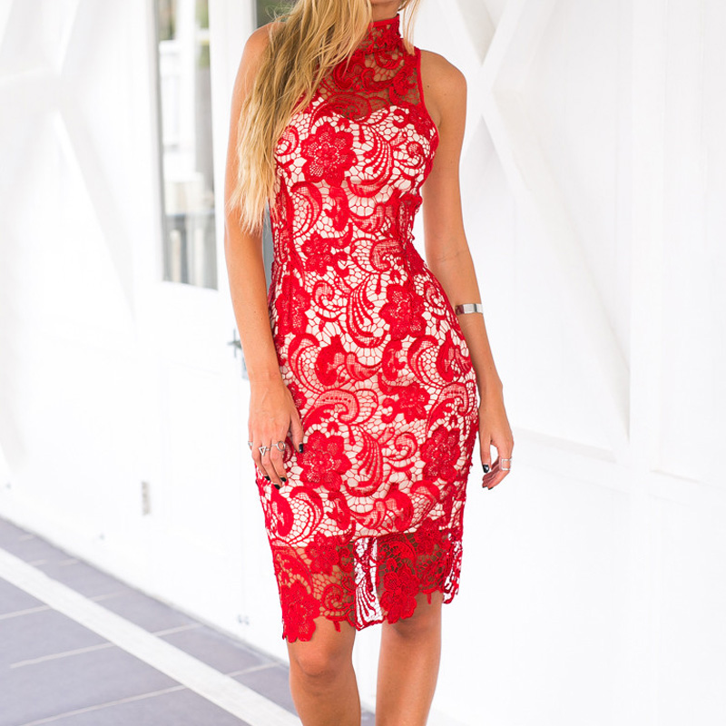 Sexy Club Red Lace Dress 2016 Summer Fashion Back Zipper Hollow Out Elegant Sleeveless Crochet Bodycon Bandage Party Dresses(China (Mainland))