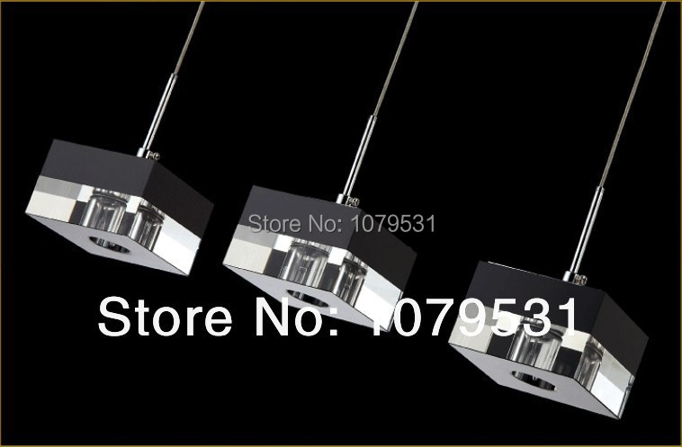 Modern Brief Square Crystal Lustres Chandelier Pendant lamps with G4*3 lights, Bedroom, living room Lighting(China (Mainland))