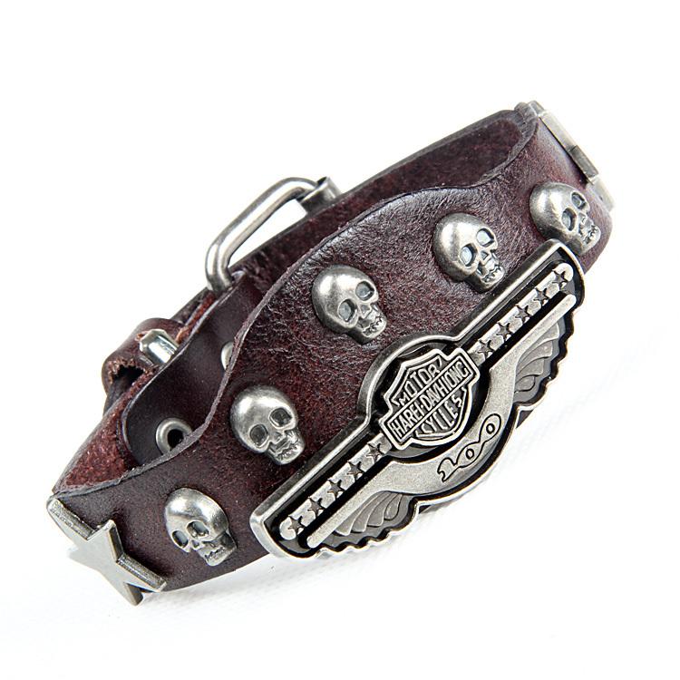 Luxury design ! Genuine leather wrap evil bracelet  for women men multicolor wide skull charm mens bracelets free ship NSL-118<br><br>Aliexpress
