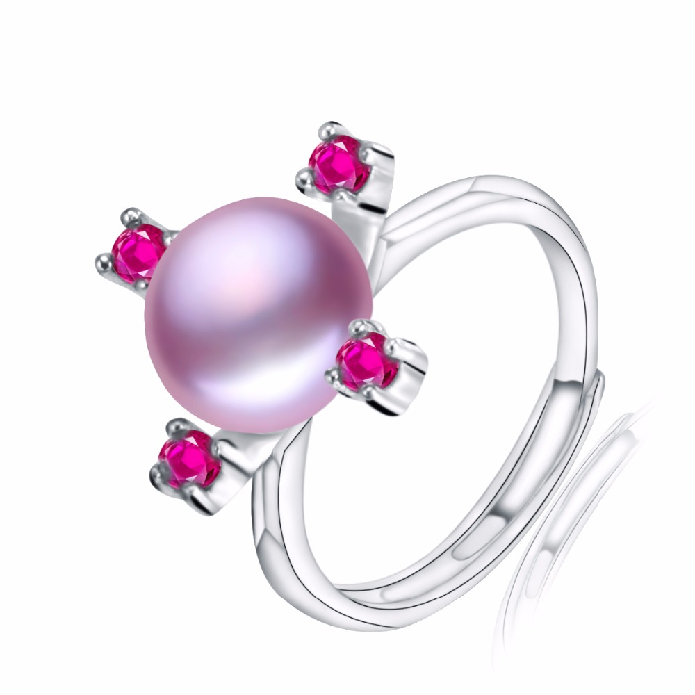 New Fashion 18k White Gold Plated Purple Pearl Ring for Women Rose Red Micro Multicolor Cubic Zircon Jewelry Anillos Mujer(China (Mainland))