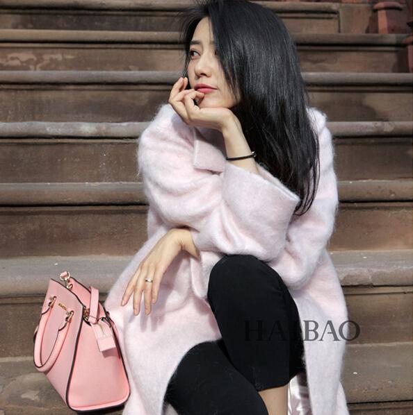 2016 весна зима мода женщины шерстяное пальто свободно пояс мохер верхняя одежда ...