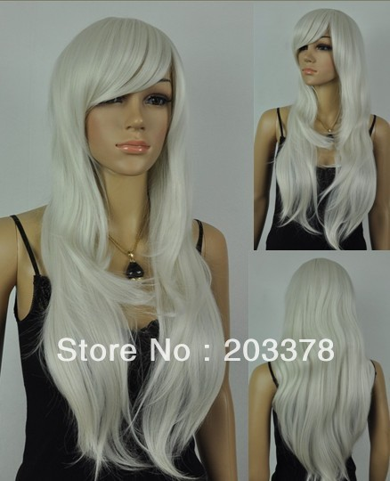 Capless Long Synthetic Silvery white cosplay hair Party Wig10pcs/lot mix order free shipping