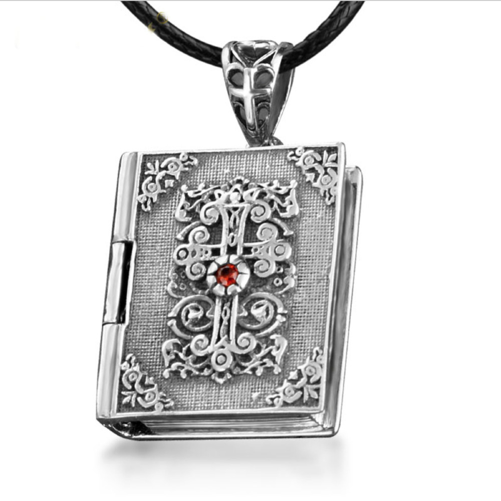 925 Sterling Silver / Thai Silver cross pendant Men & Women Bible book necklace can be opend inlaid red CZ nice Gift(China (Mainland))