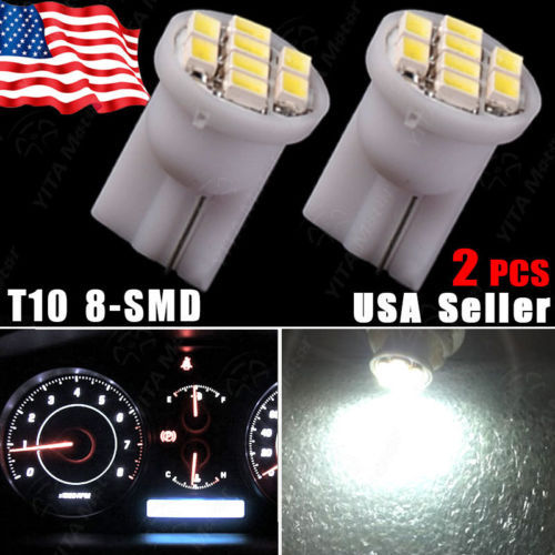 Free Shipping 2pcs Xenon White Car led Light 8SMD T10 Wedge Dashboard Cluster Gauge Instrument Panel Light 194 Lights Bulbs -(China (Mainland))