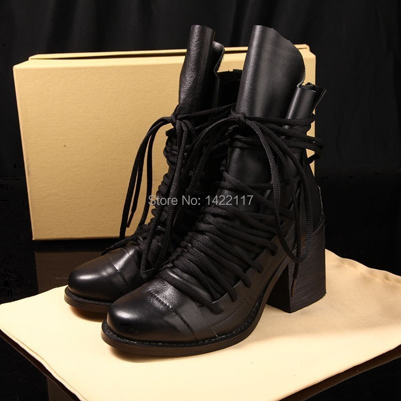 designer brand cc womens lace up chunky heel ankle