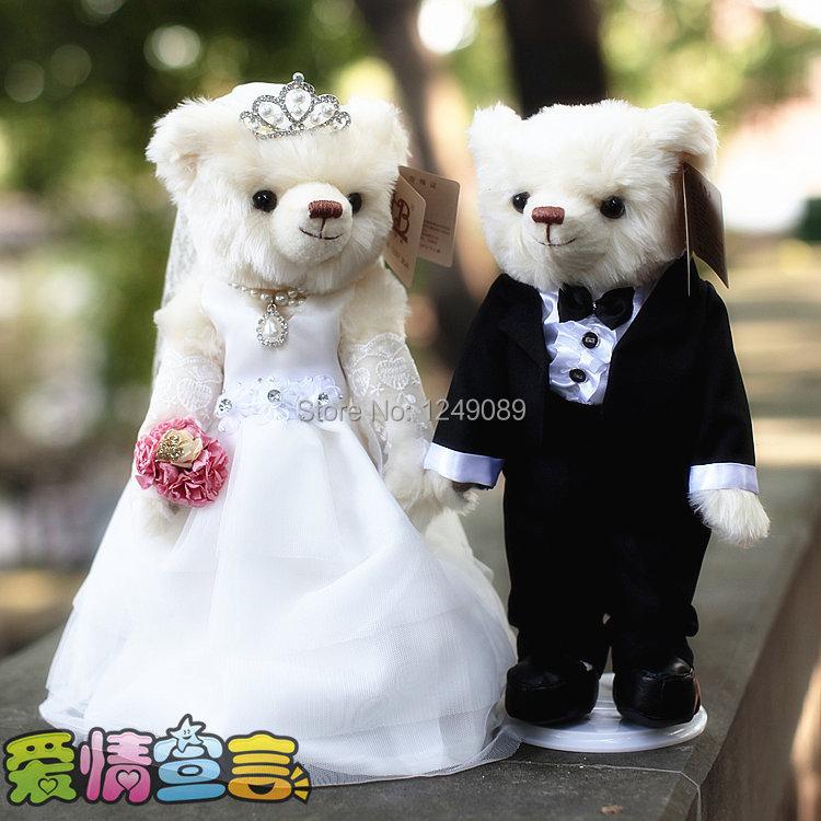 Фотография ELAINE bridal veil bkack and white  teddy bear 36 cm  Mr Lin wedding bear season 3 1026  forever love