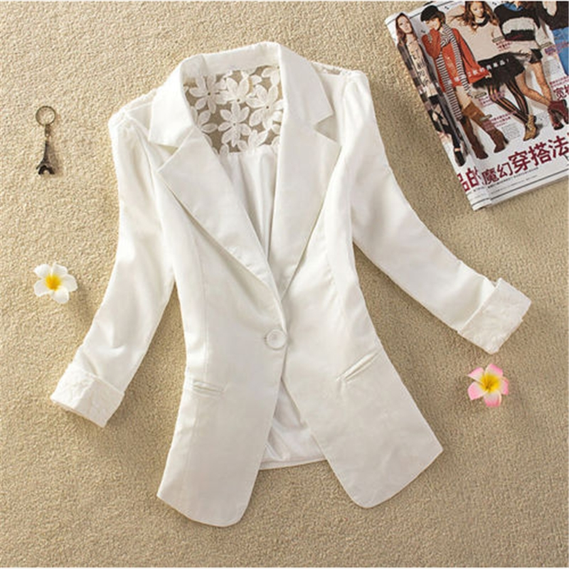 2017 Women New Short Slim Suits Blazers Elegant 3/4 Sleeve Thin Outerwear Coats Notched Embroidery Lace Jackets Cardigans S-3XL