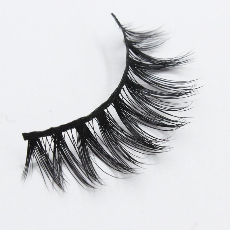 3pairs/lot 3D mink eyelashes wholesale 100% real mink fur Handmade crossing lashes individual strip thick eye lashes(China (Mainland))