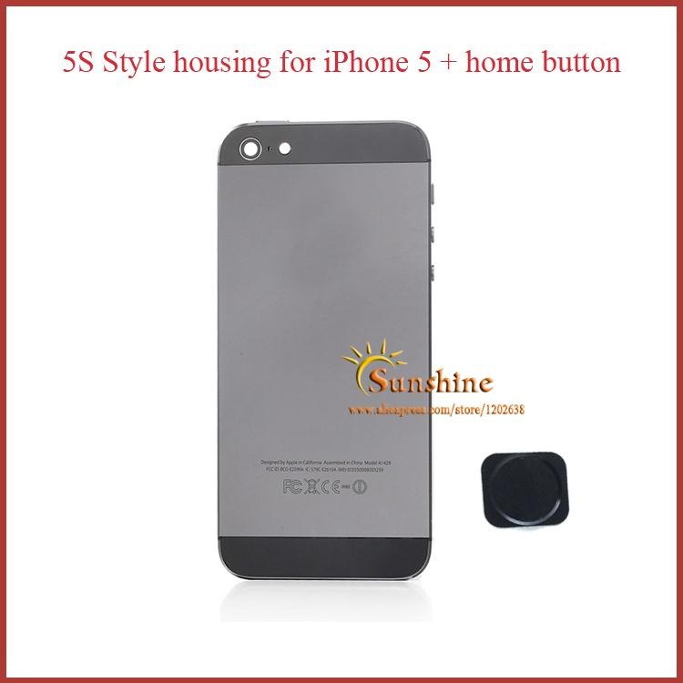 High Quality For iPhone5 Hard Glass Metal Back Housing Frame Cover for iPhone 5 Space grey Color like 5S with home button free(China (Mainland))