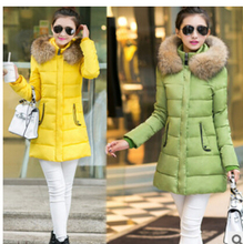 free Shipping The new winter fur collar cotton dress size slim down long coat thick cotton padded jacket