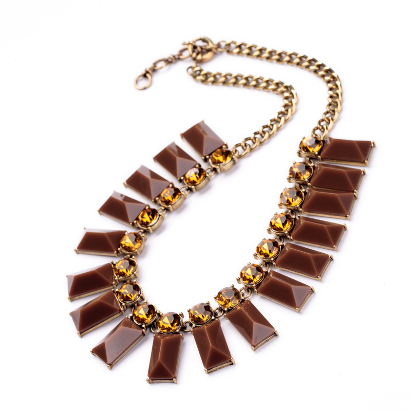 Nikel Free Brown Rectangle Citrine Necklace Sweater Accessory(China (Mainland))