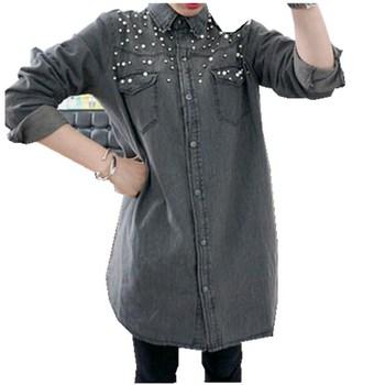 Большой размер 2XL 3XL 4XL 5XL женская одежда новый ретро женщины свободного покроя с длинным рукавом рубашки бисероплетение синий жан джинсовые блузки