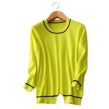 black striped 100% pure cashmere sweater O-neck long sleeves pullovers asymmetric spring/autumn/winter clothings
