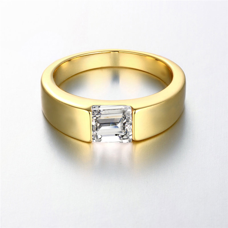 24K Yellow Gold / Rose Gold / White Gold Color Men Ring, Square Brilliant  Cut Solitaire CZ Stone Engagement Rings KZCR142