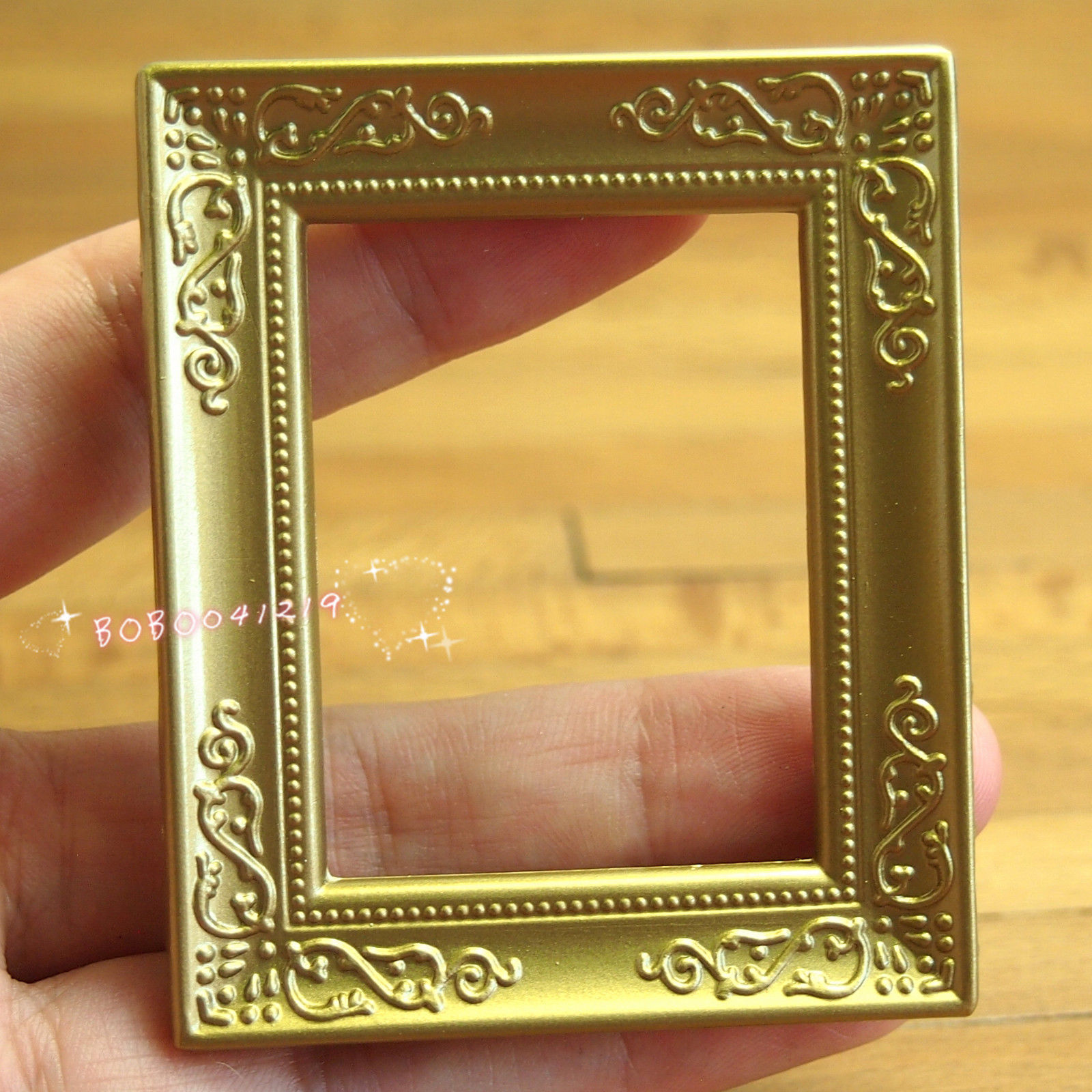 Dollhouse Miniature 1:12 Toy A Plastic Golden Frame Length 6.3cm SPO341(China (Mainland))