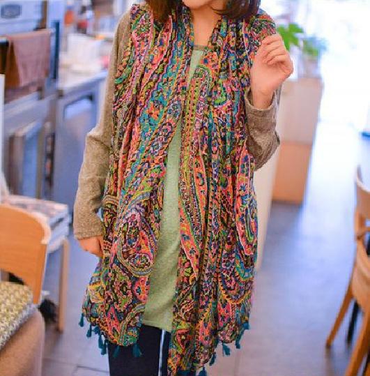 Новый зимний ветер фамилия печатных шарфы негабаритных шаль женская мода Лицзян стиль бахромой шарфы оптовая